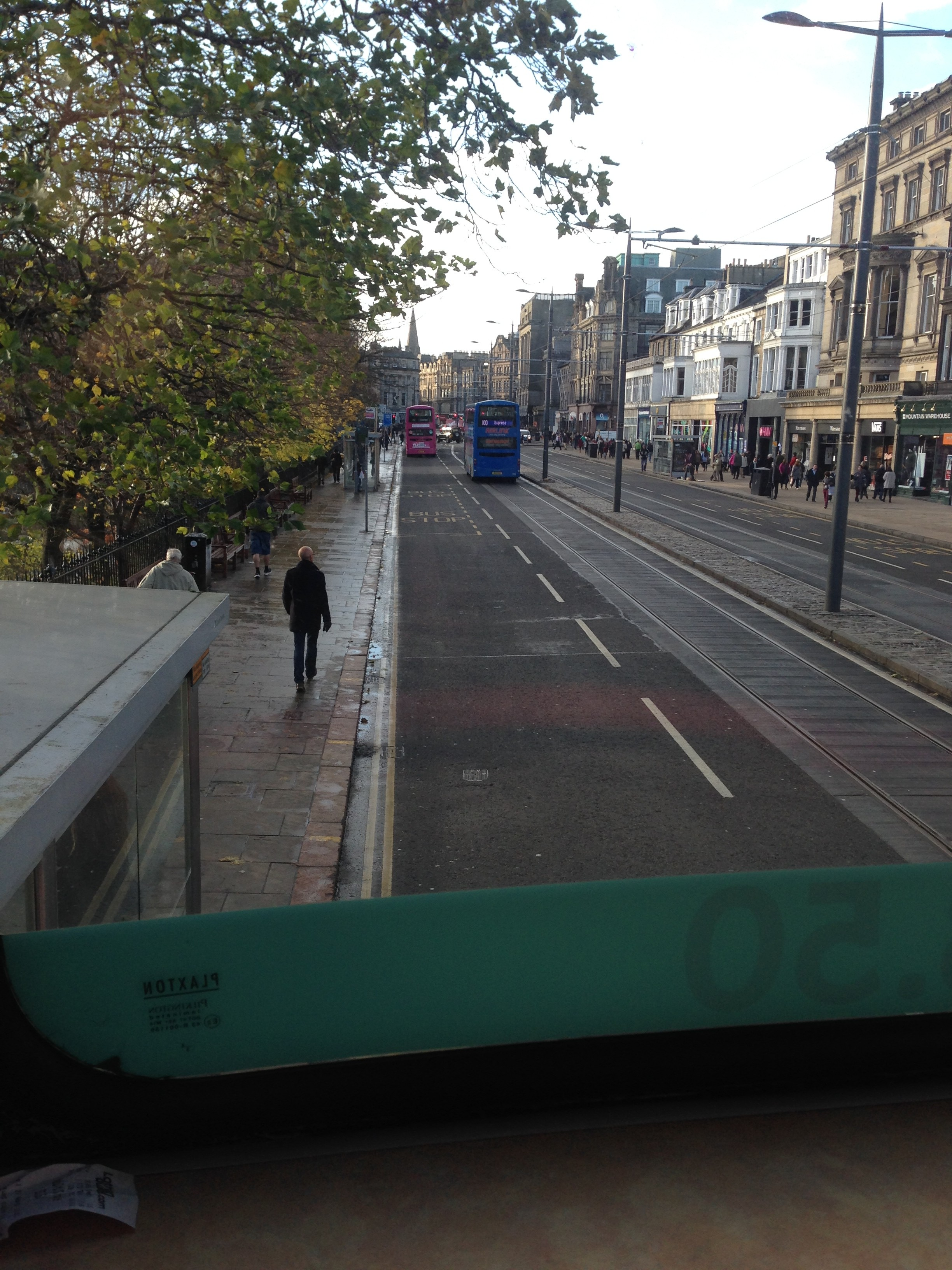 View of Princes' Street, Edinburgh, from the top layer of our double-decker bus.