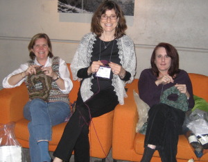 Elaine, Anne and Val, knitting on the Madrona couch. 2012?