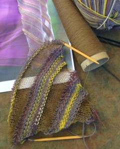 "Pattern is ""Diagonal Ribbons"", designed by Karen Bradley. Knitter's Magazine K112, page 34.  Yarn is LB Collection Stainless Steel, Color 123 Khaki, and LB Sock Ease, Color 201."