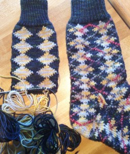 Knitting a mate for Ultimate Argyle sock.  Sock Yarn is BMFA STR lightweight. Duplicate stitch yarn is BMFA Silkie.