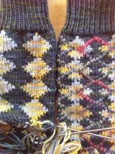 RS shown.  Sock on the left has been blocked, and Accent lines added with duplicate stitch.