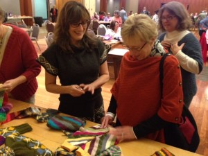 Knitters came up after the talk to get a closer look at the knitting, get personal clarification on the technique, or ask questions.  The Hundred Raven/Astoria sock was a big hit!