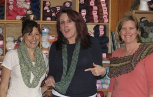 The time we all made Moebius scarves.  Anne, Val, and Elaine, at Molehill Farm