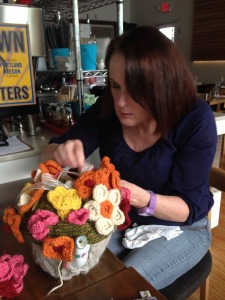 Val Allen arranging the flowers, as we select which ones to send in to Interweave for the Jane Austen Special issue.