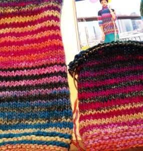 The finished sleeve is on the left, the sleeve in progress on the right. I am working only with col 170, as in the pattern, but am working from both ends of one ball, alternating every 2 rows.  This is giving me a 2 row stripe.  I thought I would like this better than the big, blocky stripes in the pattern sample. I'm not sure now, but I could re-knit these sleeves very easily.  I just got the yarn yesterday afternoon. This is proving a quick knit!