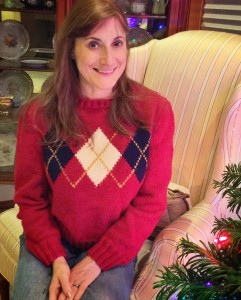 Anne in the argyle sweater, Christmas 2014