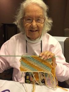 I was fortunate to have Ella in two of my classes.  She is an intrepid intarsia knitter, and loved finding out new ways to use the technique.  Look at this beautiful swatch!  I hope it turns into a scarf.  It was a joy to meet her and share her energy and love for knitting.