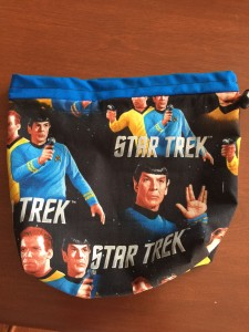 Knitting bag with classic Star Trek theme, by Jasmine Koski