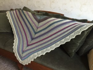 "Finished shawl is 66"" wide and 33"" deep."