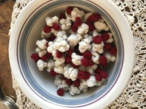 Christmas garland, hand-knit popcorn and cranberries.